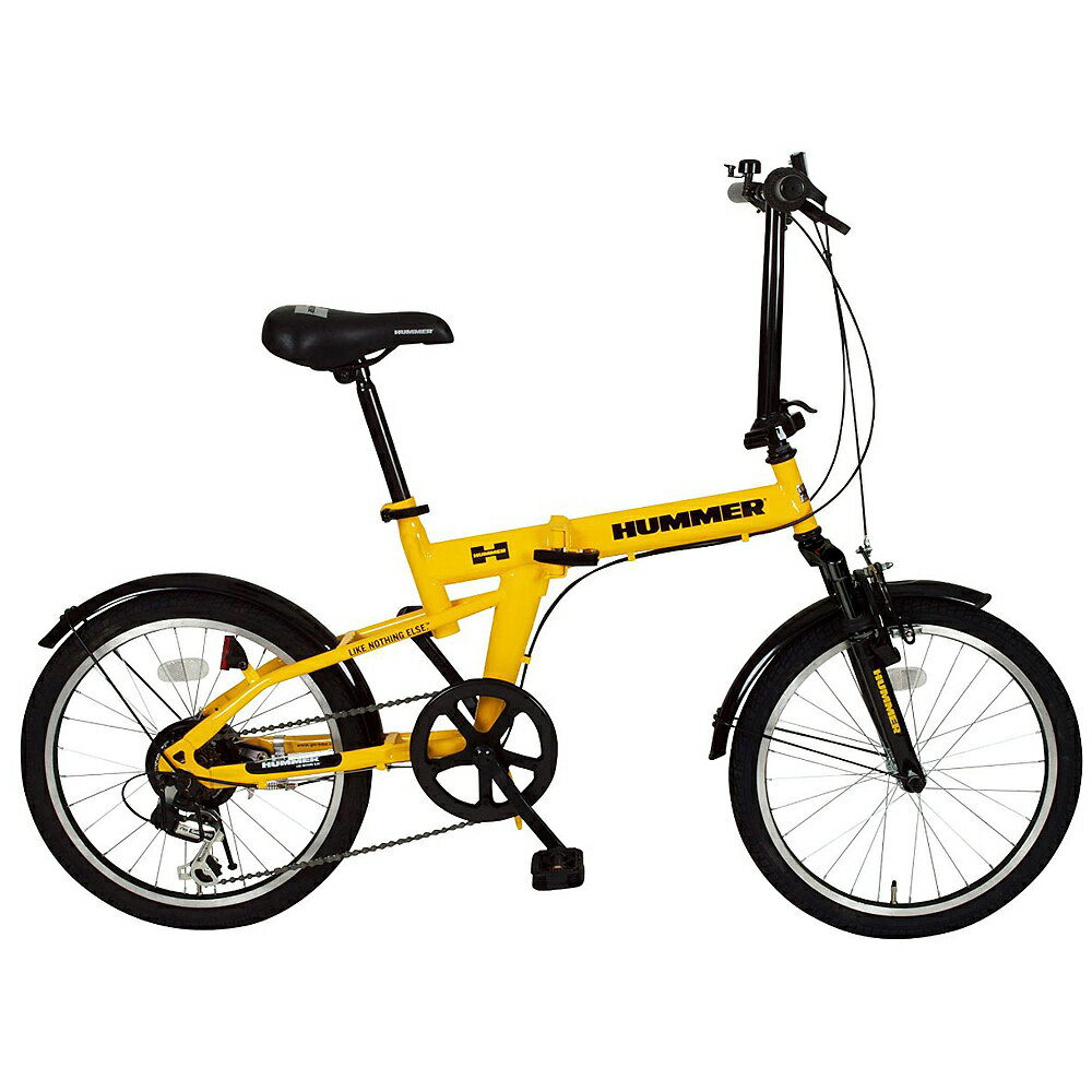 《6段変速、フロントサスペンションで快適》ミムゴ 20インチ 6段変速Fサス折りたたみ自転車HUMMER FDB206S イエローが存在感と走りに強いインパクトを与えます
