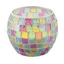 《モザイクガラスから漏れるキャンドルライトが美しい》イシグロ モザイクキャンドルホルダー50063クリアピンク・イタリア製シトロネラキャンドル1ケ付