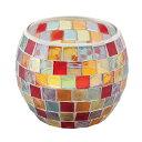 《モザイクガラスから漏れるキャンドルライトが美しい》イシグロ モザイクキャンドルホルダー50064クリアレッド・イタリア製シトロネラキャンドル1ケ付