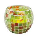 《モザイクガラスから漏れるキャンドルライトが美しい》イシグロ モザイクキャンドルホルダー50065クリアグリーン・イタリア製シトロネラキャンドル1ケ付