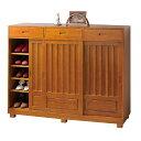 《場所をとらない引き戸式の和風シューズボックス》ファミリー・ライフ 天然木桐製和風引戸靴箱3枚扉(02665)