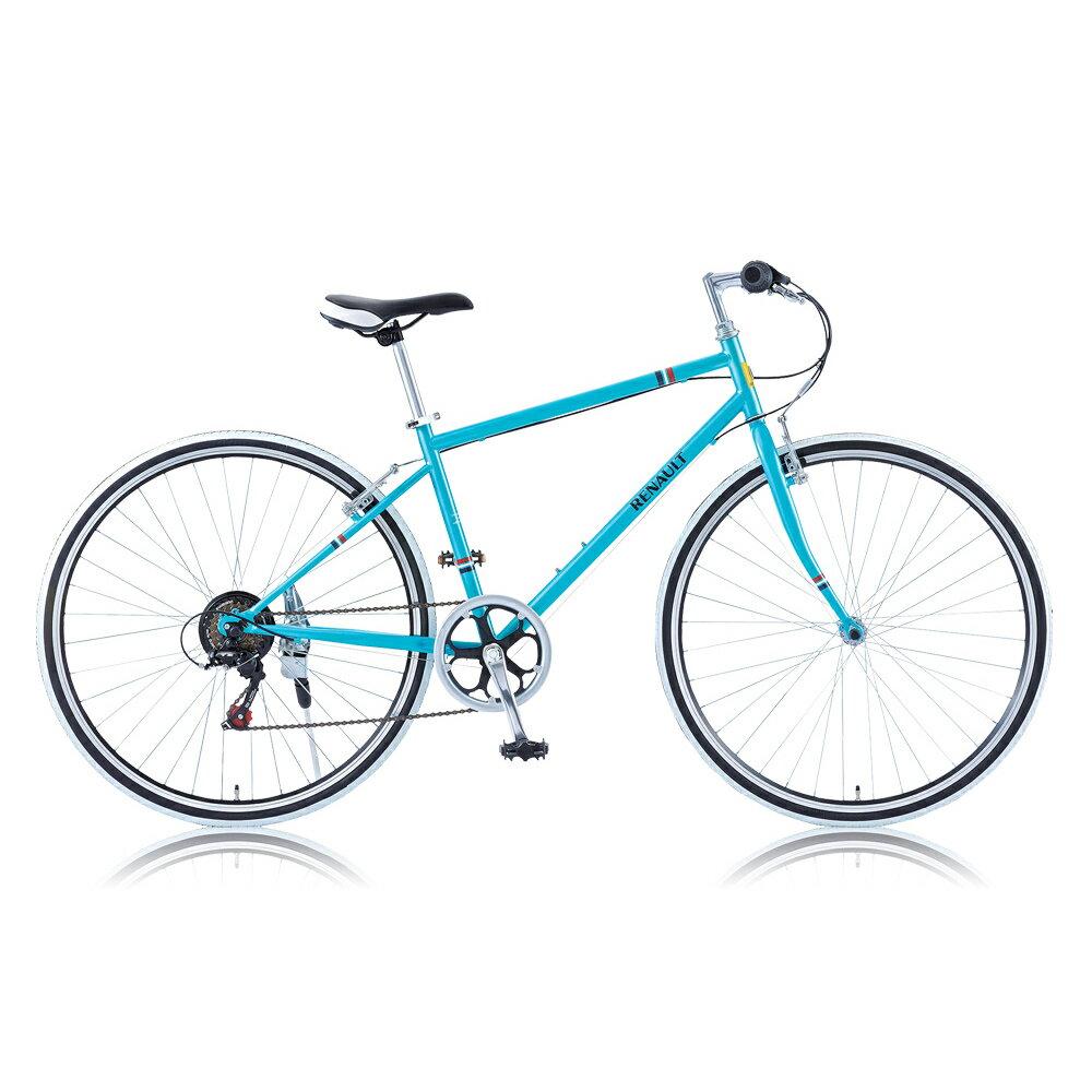 《コンパクトフレーム採用。制動力の高い前後Vブレーキ》RENAULT 700x28C 6段変速クロスバイクCRB7006Sフレームサイズ430mm(23582)ブルー しなやかなライド感のあるシンプリー・クロスバイク
