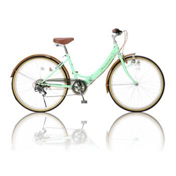 【き】Raychell R-321N 17076 折り畳み自転車 ノーパンクタイヤ グリーン×ブラウン フレーム400mm