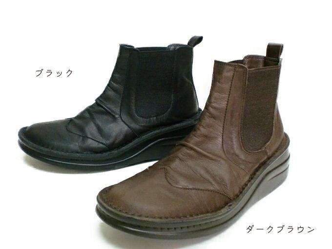 【INCHOLJE-インコルジェ-】くしゅかわ♪デザインサイドゴムショートブーツ本革☆日本製【8304】※在庫切れの場合はお問い合わせ下さい。 【送料無料】神戸の工場から直送・足に優しい靴 INCHOLJE -インコルジェ-