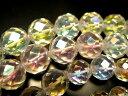 【激安宣言】カット 6mm珠 一連 コスモオーラ 【蒸着水晶】 約40cm 64面カット【geki】