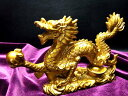 ◆M◆迫力満点!金龍モチーフ◆ 玉持ち龍神(ドラゴン)置物◆...