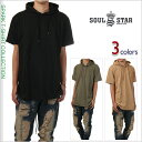 ロング丈 半袖 Tシャツ メンズ レディース 大きいサイズ SOUL STAR 半袖 パーカー 無地 丈長 ストリート系 ヒップホップ USA ブランド ファッション 白 赤 紺