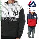 マジェスティック ジャケット メンズ レディース MAJESTIC ヤンキース ハーフジップ 中綿 オットマンジャケット スタジャン 大きいサイズ 日本規格 アメカジ ストリート スポーツ ファッション 黒 紺 赤 白