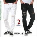 ネオブルー スキニーパンツ メンズ 黒 白 大きいサイズ NEO BLUE スキニー パンツ ストレッチ デニムパンツ クラッシュ ダメージ アメカジ スポーツ B系 ストリート系 USA ブランド ファッション ブラック ホワイト