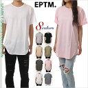 ロング丈 Tシャツ メンズ レディース 大きいサイズ EPTM エピトミ Uネック 半袖 Tシャツ 無地 丈長 ストリート系 ヒップホップ USA ブランド ファッション 白 黒 グレー ピンク