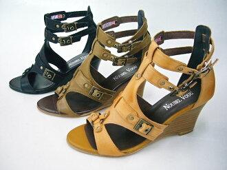 NOUBEL VOUG 7022 ☆ leather-ウエッジソールグラディエーター sandals