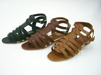 Venti Anni 44111 ☆ Venti Anni コルクウ edges and multiple ベルトローヒールグラディエーター sandals