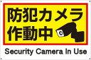 プレート看板 看板 (防犯カメラ作動中 Security Camera In Use) 45cm×30cm 450mmx300mm 【表面ラミネート加工 角R ...