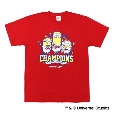 広島東洋カープ公認グッズミニオン×カープ リーグチャンピオン Tシャツ 広島東洋/カープ/carp/優勝/MINIONS/かわいい