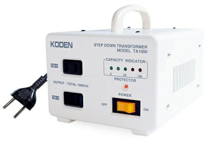 【変圧器】【海外用】 東京興電 海外用変圧器 ステップダウントランス 定格容量1000W 変換電圧220V/240V→100V TA-1000