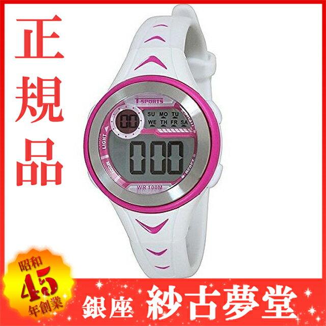 クレファー CREPHA デジタル腕時計 T-SPORTS ホワイト×ピンク TS-D035-WT[スポーツ ファッション ウォッチ][3up]