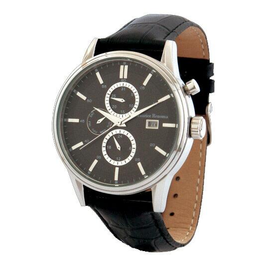 [モーリスレノマ]Maurice Renoma 腕時計 リール アナログ表示 3気圧防水 日付曜日付き ブラック MR-1425 BLACK メンズ