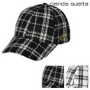 リエンダ スエルタ キャップ サイズ調整可能 レディース ツイードチェック RS-92020001 rienda suelta 帽子 ゴルフ[bef][PO5]