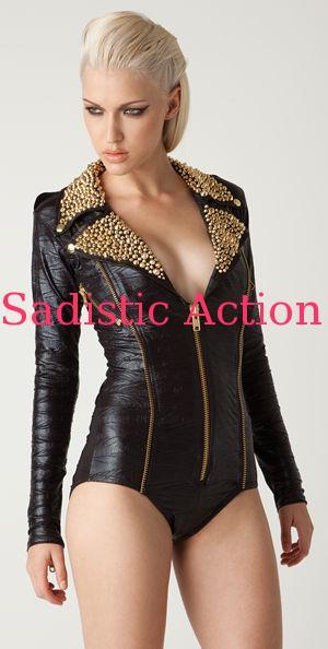 【即納】L.A.Roxx Black Moto romper bodysuit with Gold studs on leather collar 【L.A.Roxx (ダンスウェア、レザー、ボンテージ、衣装)】【LR-BS-12002-BK/GL】