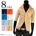 ショッピングリネン ワンピース SALE-T クリンクルシャツ シャツ パイピング切替 しわ加工 カラーシャツ 合成皮革 リネンシャツ 7分袖 メンズ 夏 涼しい K260402-01 ss29in