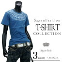 ショッピングノルディック 半袖 プリント メンズ Tシャツ 半袖Tシャツ カットソー インナー ティーシャツ ストリートインディゴ ノルディック柄 抜染 クルーネック カジュアル メンズ インディゴ R290602-04