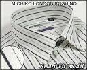 ファッションに敏感で洗練されたこだわりメンズドレスシャツ【MICHIKO LONDON KOSHINO(ミチコロンドン)】【長袖】形態安定ワイシャツショートレギュラーカラー白地にブラックストライプ柄<限定品>さりげなく「ラメ」ライン