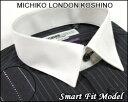 ファッションに敏感で洗練されたこだわりメンズドレスシャツ【MICHIKO LONDON KOSHINO(ミチコロンドン)】【長袖】形態安定ワイシャツショートレギュラーカラークレリックブラックにストライプ柄<限定品>くっきり「ラメ」ライン
