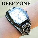 腕時計 ブレスウォッチ パイソンレザー Deep Zone トノーフェイス ホワイトフェイス スネークレザーベルト 専用ボックスあり #498-13 ◆ 本革 ...