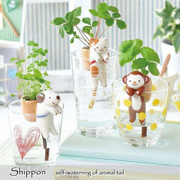 動物のしっぽが水をくみあげて可愛い植物が育つしっぽん選べる3種類クローバー・ワイルドストロベリー・バ