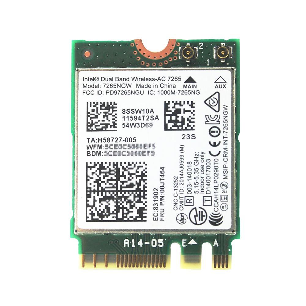 Lenovo純正 00JT464/00JT469/04X6030 Intel Dual Band Wireless-AC 7265 867Mbps 802.11ac + Bluetooth 4.0 M.2 無線LANカード 7265NGW for Lenovo ThinkPad