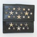 【中古】JIMMY CHOO 二つ折り財布 スタースタッズ レザー ブラック LTR000715