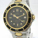 【中古】OMEGA ボーイズ腕時計 シーマスター プロフェッショナル クオーツ ブラック文字盤 SS シルバー/ゴールド 396 1042
