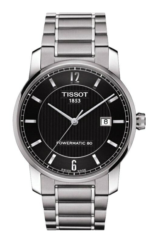 正規品TISSOT ティソ「チタニウムパワーマテック80」Luxury Automatic 自動巻きデイト ブラック文字盤 チタンバンド パワーリザーブ80時間  T087.407.44.057.00