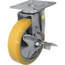 シシク ステンレスキャスター 制電性ウレタン車輪自在ストッパー付 〔品番:SUNJB-150-SEUW〕 3535410