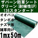 ザバーン防草シート 耐候性アップ136(雑草抑制用) 巾1mx長さ50mロール グリーン(緑) (グリーンシート原反・巻物)