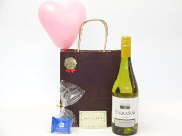 贈り物ギフト チリ白ワインセット(テラ・スル(シャルドネ) 白(チリ)750ml)メッセージカード ハート風船 ミニチョコ付き