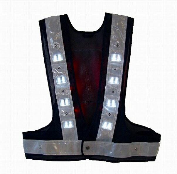 [送料無料・ポイント10倍]LED照明用ベスト SBLR−Cフリーサイズ 紺・白 前面:白色点灯 背中:赤色点