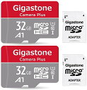 Gigastone Micro SD Card 32GB е▐едепеэSDелб╝е╔ е╒еыHD 2Pack 2╕─е╗е├е╚ 2 SDеве└е╫е┐╔╒ 2 е▀е╦╝¤╟╝е▒б╝е╣╔╒ w/adapter and case SDHC U1 C10 90MB/S ╣т┬о micro sd елб╝е╔ Class 10 UHS-I Full HD ╞░▓ш