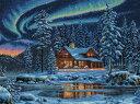ディメンションズ クロスステッチ 刺繍キット Dimensions Counted Cross Stitch, Aurora Cabin