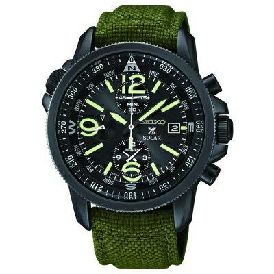 セイコープロスペックスSSC295P1メンズ腕時計ソーラミリタリーアラームクロノグラフSeiko SSC295P1 Prospex Men's Solar Military Alarm Chronograph セイコー プロスペックス ソーラ アラーム クロノグラフです。黒とグリーンが基調のミリタリー風です。3つのサブダイヤルと3時の位置にカレンダーがあります。