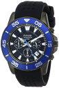 黒ベースにブルーのフレームがスタイリッシュなクロノグラフ腕時計。セイコー パルサー PT3141