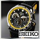 SEIKO セイコー PULSAR パルサー PU2007 クロノグラフ メンズ ウォッチ レザーベルト 腕時計 黒 黄 100m防水 日本未発売