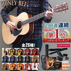 アコースティックギター HONEY BEE W-15/F-15 アコギ リミテッドセット【今だけ教則DVD付き!】【初心者 入門セット】【大型】