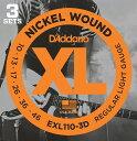 ポイント2倍  弦×3セット   発送・ ・代金引換不可 ダダリオ D'Addario EXL110-3D×1パック(計3セット) エレキギター弦 3セットパック smtb-TK