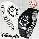 ディズニー 腕時計 MICKEYのロゴが文字盤に!Disney ミッキー ロゴインデックス腕時計 全2色 ホワイト ブラック ユニセックス キャラクター 限定