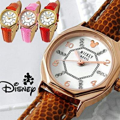 ディズニー 腕時計 レディース 幸運の八角形時計 ミッキー 腕時計 スワロフスキー 時計 Disney 八角形 本革 革 大人ディズニー 腕時計 女性用 LADYS キッズ 女性 レザーベルト 全4色 本牛革 ベルト 限定