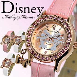 迪士尼米奇米妮孩子婦女兒童米奇 & 米妮愛孩子觀看所有 4 色帶魅力牛皮帶有限的迪士尼施華洛世奇米奇老鼠米妮老鼠文本皮革女式女士公主都手錶不都手錶手錶的女士