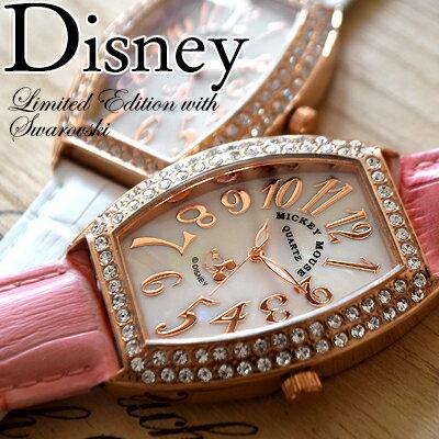 ディズニー Disney ミッキー レクタングル 腕時計 全3色 本牛革ベルト レザー スワロフスキー MICKEY MOUSE 限定