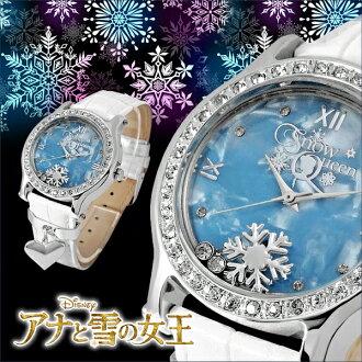 迪士尼公主手錶艾爾莎安娜和雪女王白色 x 銀女士迪士尼心魅力這皮帶施華洛世奇