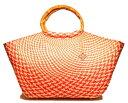 ショッピングストローバッグ ハンドメイドのかごバッグ 高級天然素材・ブリヤシ繊維製のストローバッグ パボレアル チェック(ピンクベージュ) とにかく軽い!